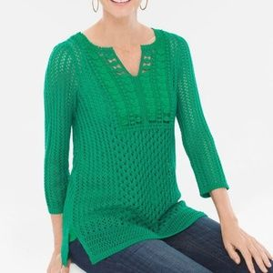Chicos Green Crochet Textured Pullover Tunic
